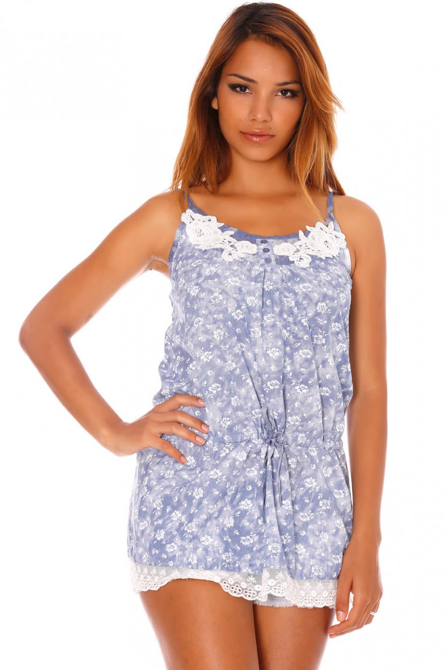 Top à bretelle bleu avec dentelle et motif fleur - P0030