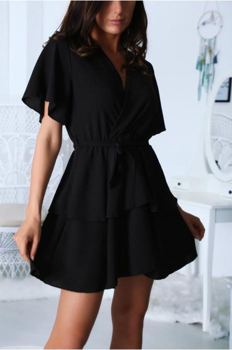 Robe Cache Coeur Noir A Volant Vetement Mode
