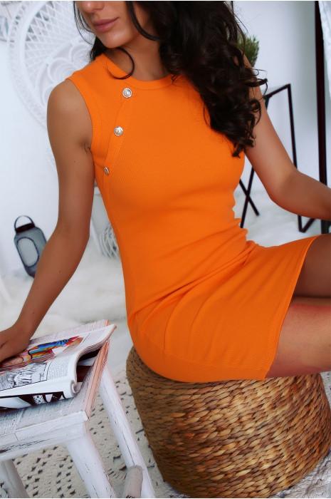 Robe côtelé et moulante en orange avec bouton officier au buste