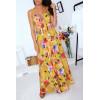 Sublime robe longue moutarde fleurie, boutonné devant avec bretelle et noeud à la poitrine