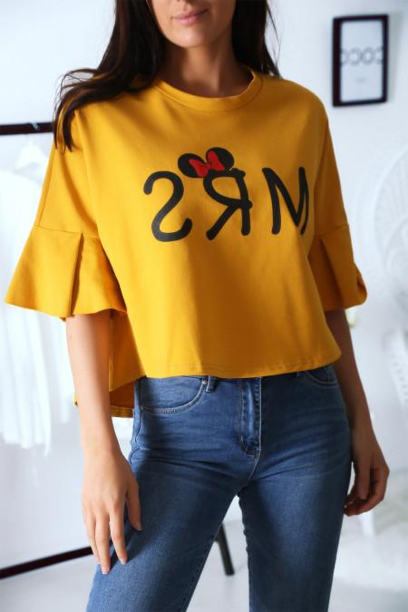 Losse mosterd sweater met MRS-tekst en mouwen met ruches
