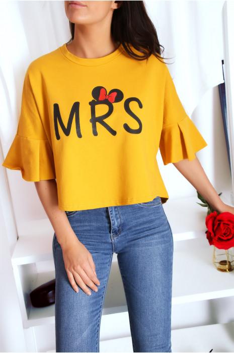 Sweat ample en moutarde avec écriture MRS et manches volantes