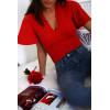 Body rouge en col V avec manche volante. Prêt à porter femme tendance et chic