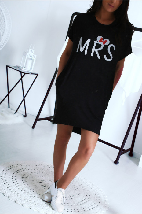 Robe T-shirt noir avec écriture MRS et poche,. Robe tunique  ultra agréable à porter