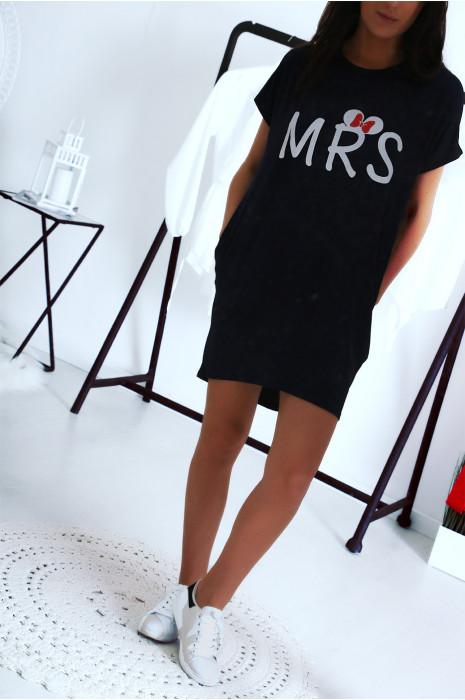 Robe T-shirt marine avec écriture MRS et poche,. Robe tunique  ultra agréable à porter