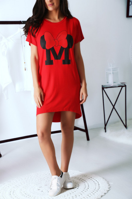 Red T-shirt dress with pocket and M writing crowned with a butterfly