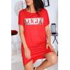 Robe T-shirt rouge avec poche et  écriture VOGUE en argenté