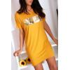 Robe T-shirt moutarde avec poche et  écriture VOGUE en argenté