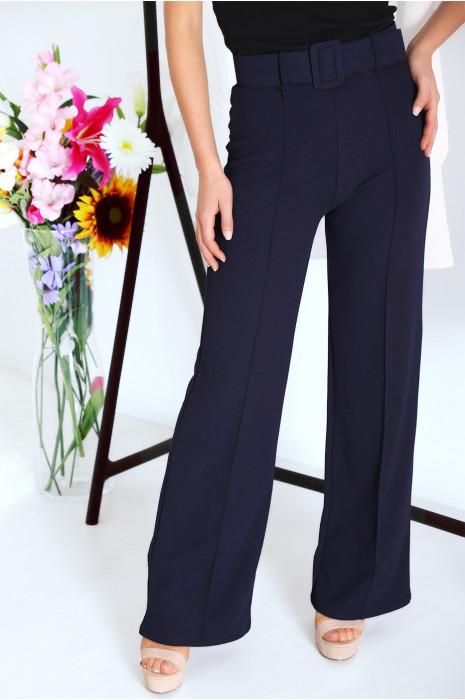 Superbe pantalon palazzo Marine avec ceinture