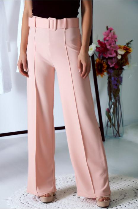 Superbe pantalon palazzo Rose avec ceinture