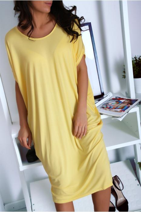 Robe tunique Jaune très ample manche courte