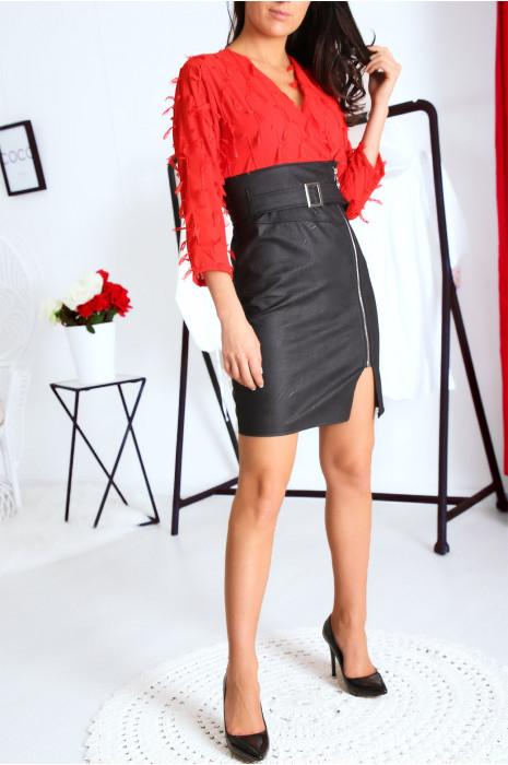 Superbe robe taille haute Rouge bi matière avec froufrous et ceinture