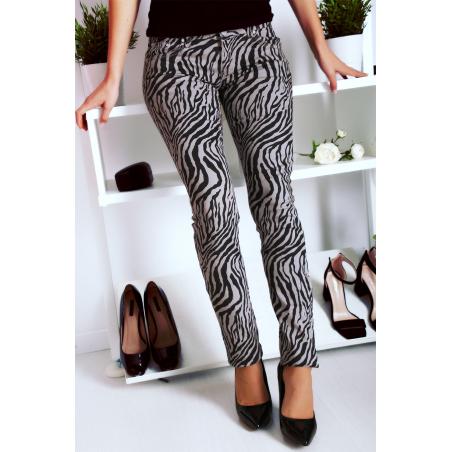Pantalon Jeans Gris avec ces motifs tendances Noir - S1317G