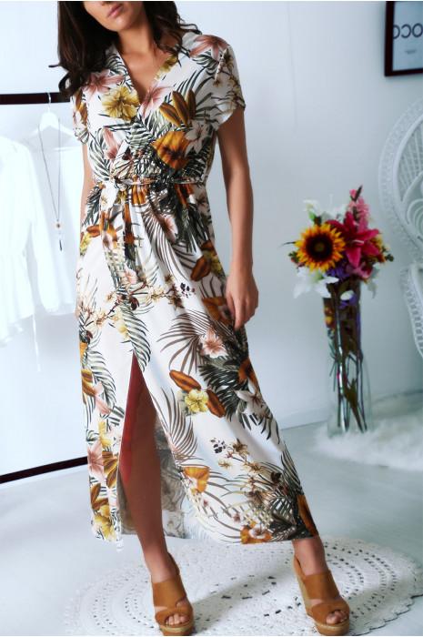 Jolie robe longue Blanche fleuri croisé au buste