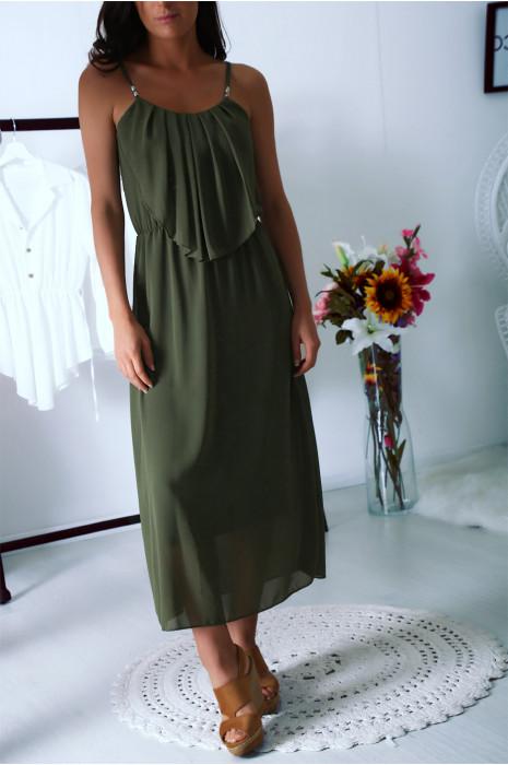 Superbe robe longue Kaki à fines bretelles et volant sur le devant