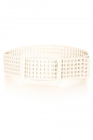 Witte roosterband met gaten. SG-0452