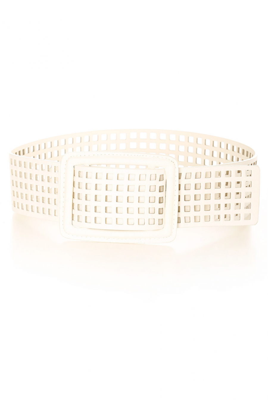 White grid belt with holes. SG-0452