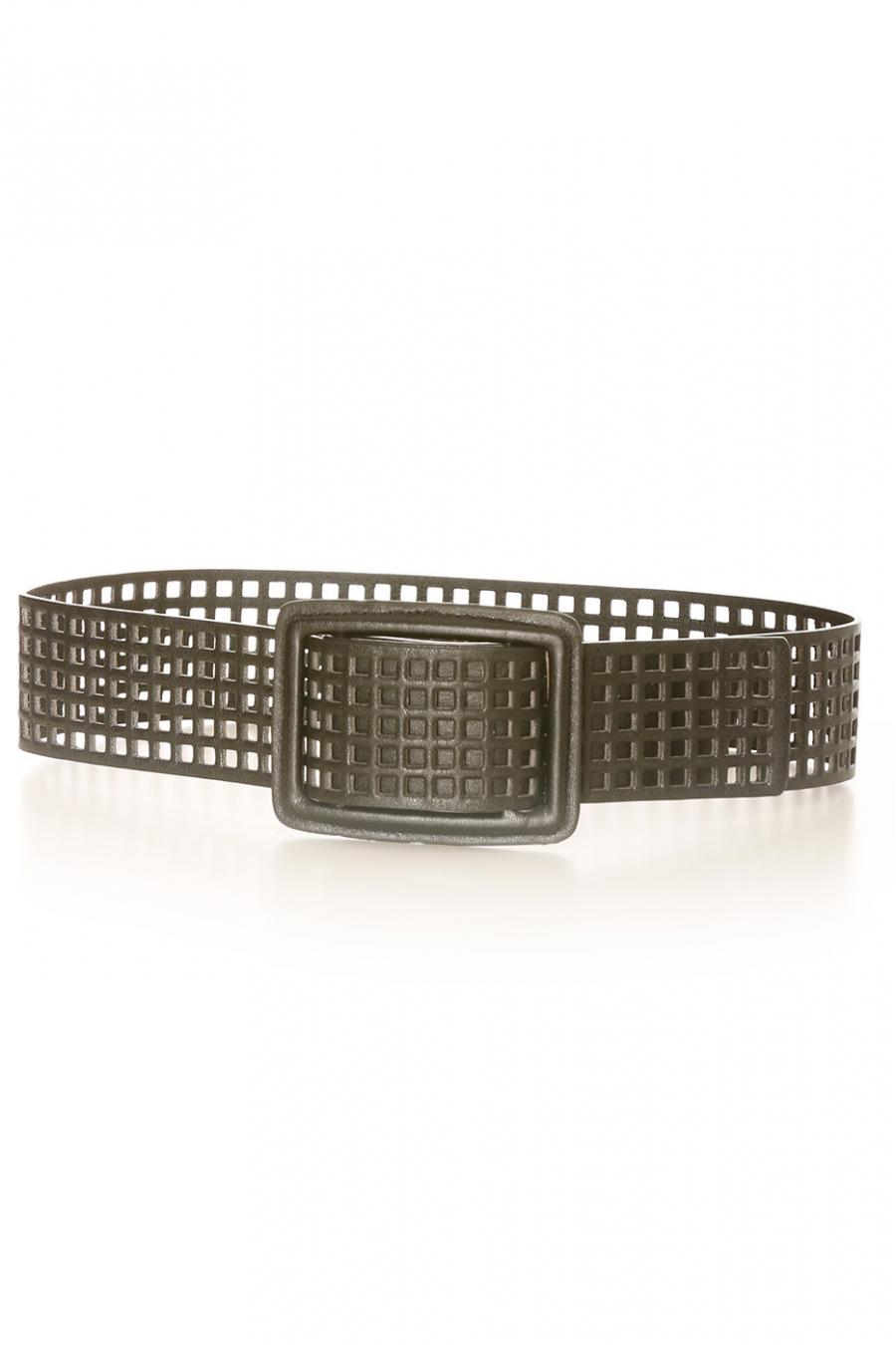 Black grid belt with holes. SG-0452