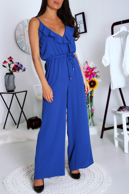 Superb royal jumpsuit with ruffles at the neckline and belt