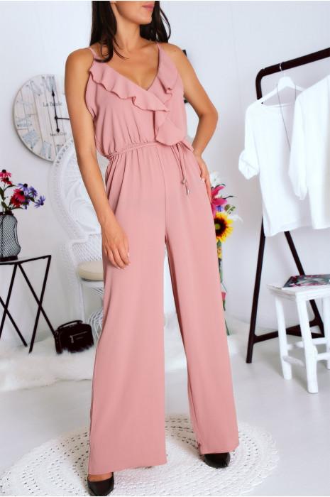Superbe combi pantalon rose avec volants au décolleté et ceinture