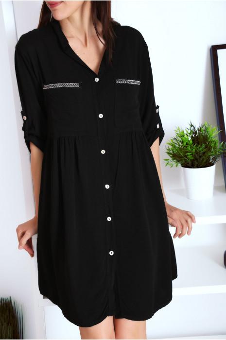 Robe tunique chemise Noir avec manche retroussées et jolie broderie