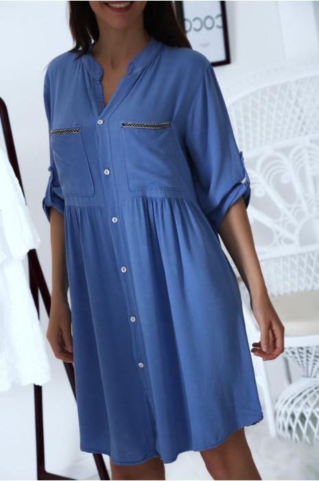 Robe tunique chemise Bleu avec manche retroussées et jolie broderie