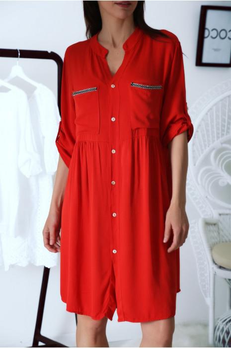 Robe tunique chemise Rouge avec manche retroussées et jolie broderie
