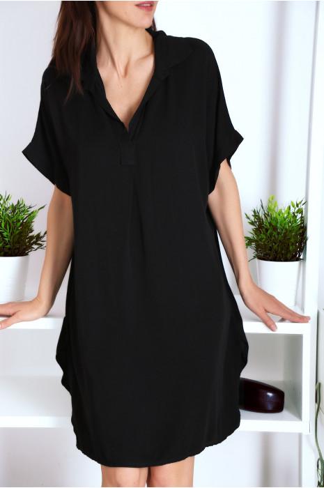 Superbe robe tunique Noir ample à manches courtes