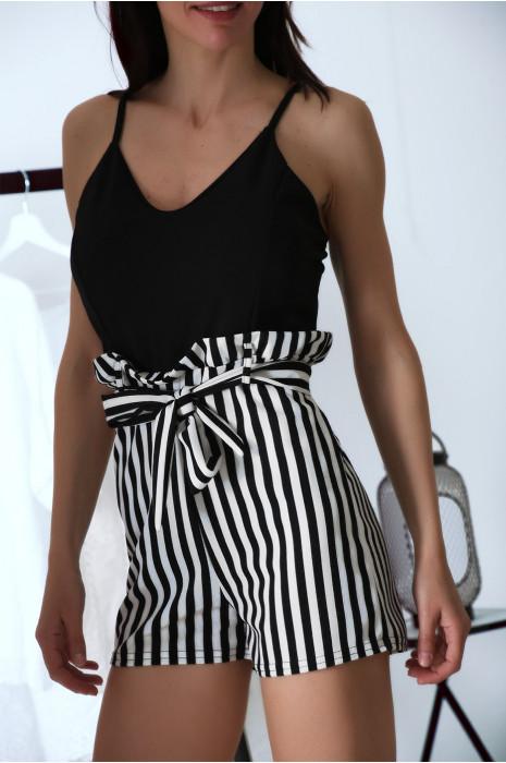 Combi short rayé Noir avec débardeur et ceinture à la taille