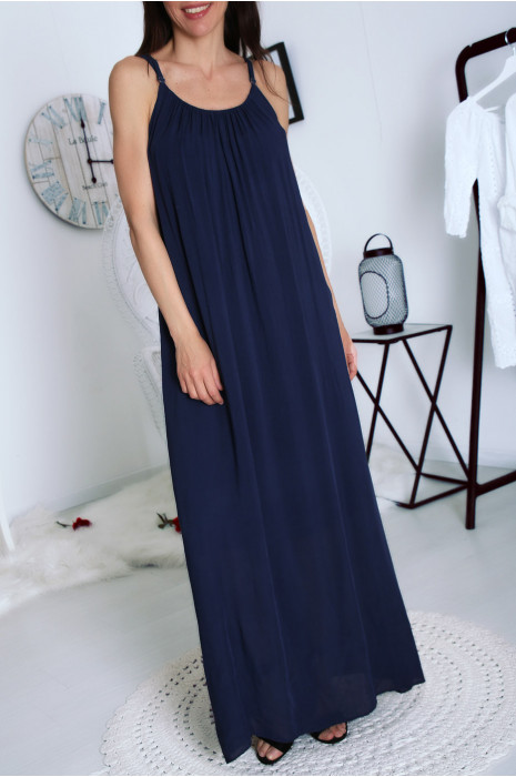 Jolie robe longue Marine à bretelles