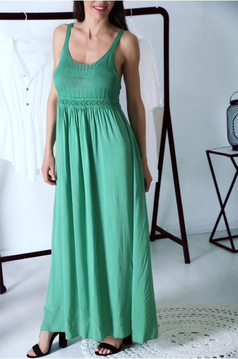 Superbe robe longue Vert style bohème chic