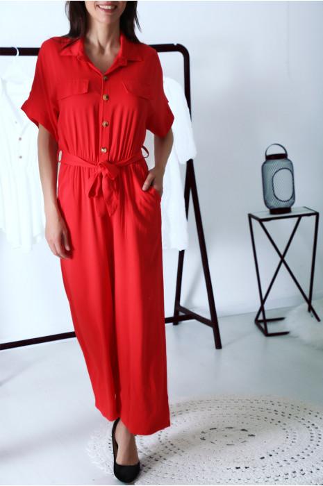 Combinaisons pantacourt rouge col chemise boutonné avec ceinture