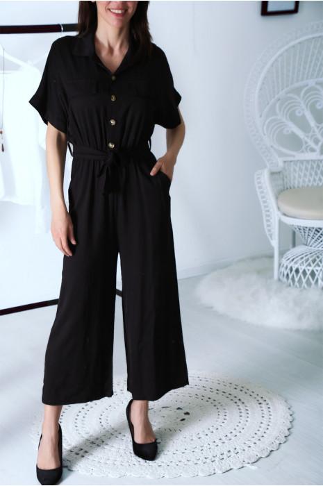 Combinaisons pantacourt noir col chemise boutonné avec ceinture