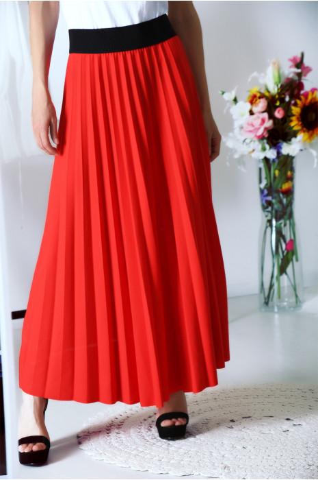 Jupe longue plissé Rouge avec ceinture élastique à la taille