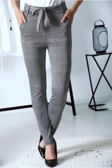 Pantalon taille haute à motif pied de poule et jolie ceinture à la taille