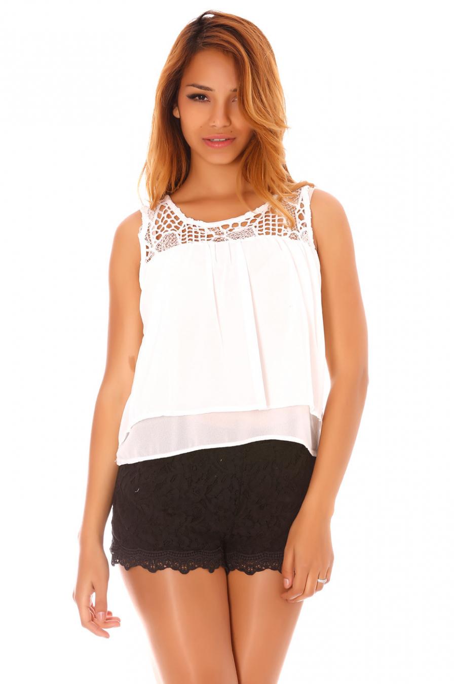 Top Blanc en voilage avec les épaules en crochet - MC1588