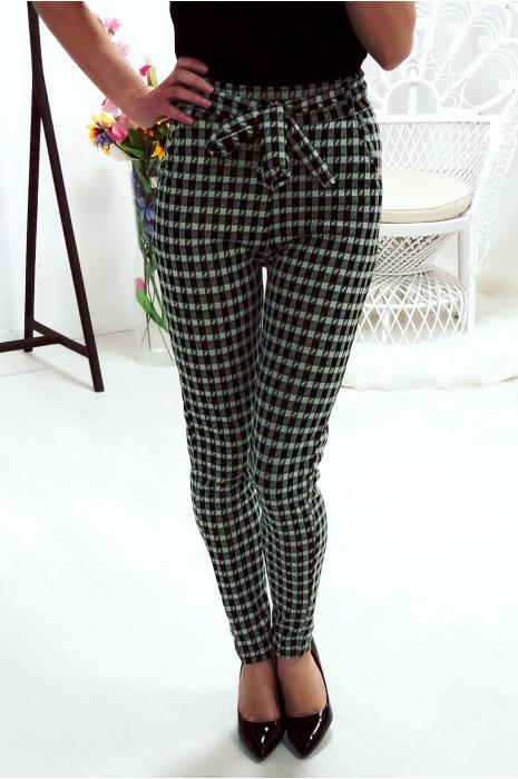 Pantalon slim à motif noir et vert avec ceinture et poches