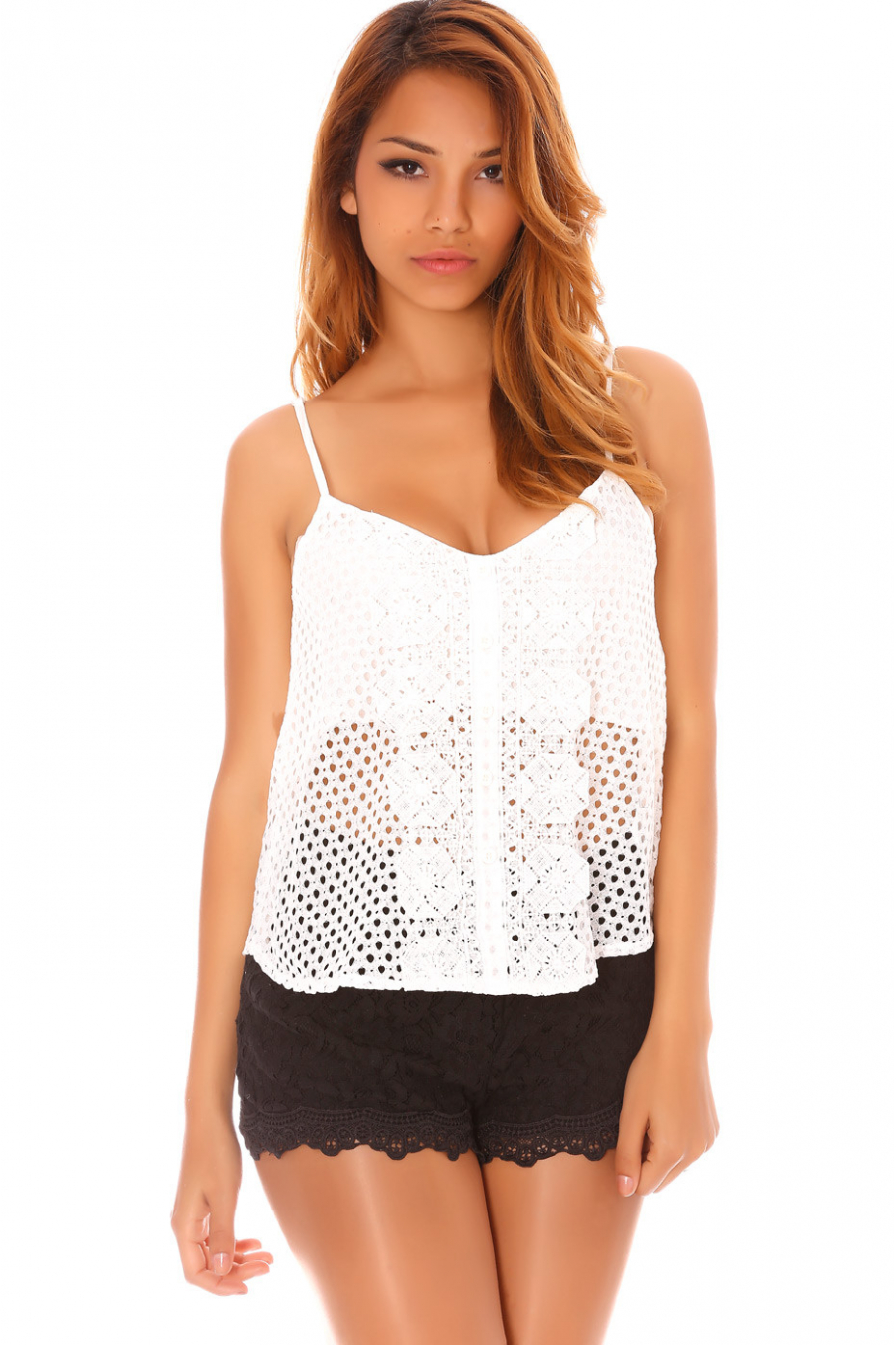 Top Blanc en crochet à fines bretelles - MC8033