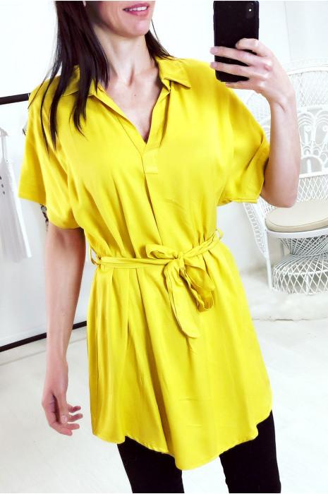 Jolie tunique col chemise en moutarde avec ceinture
