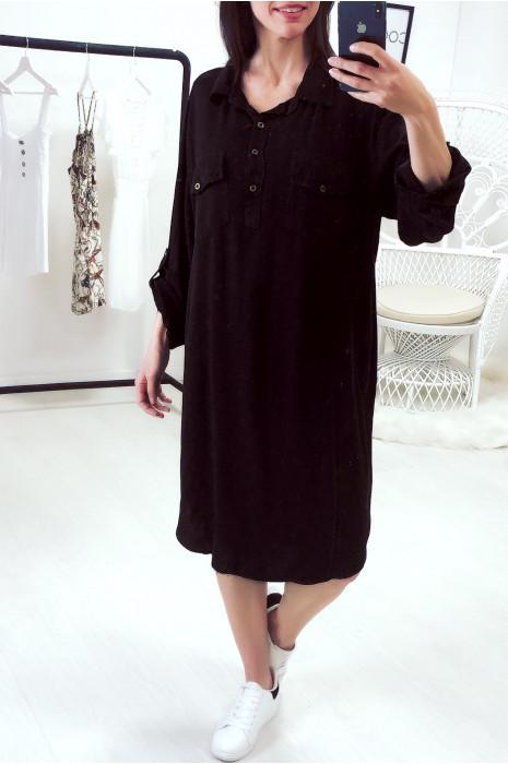 Longue tunique col chemise en noir avec poche et manche retroussé