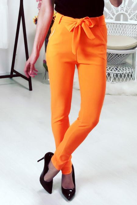 Orange pants with belt and pockets