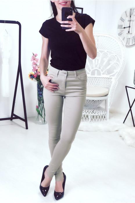 Pantalon jeans slim en taupe très tendance et extensible a2001-13