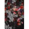 Sublime robe noir avec motif fleuri devant et élastique sur les cotés