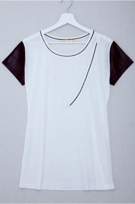 T-shirt blanc manche pvc avec couture strass