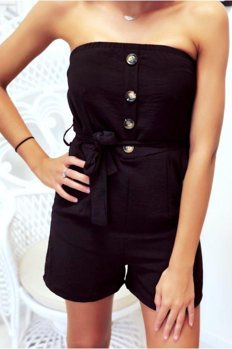 Combi-short noir avec poche, ceinture et joli boutons