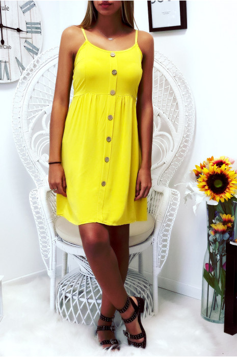 Jolie robe moutarde, bretelle amovible, boutonné à l'avant