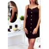 Jolie robe noir, bretelle amovible, boutonné à l'avant