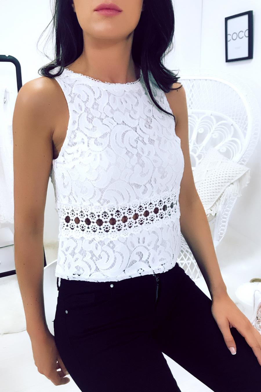 White lace croq top - F2575