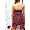 Sublime robe d'été motif liberty rouge et Noir avec dentelle et volant