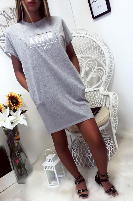 Robe T-shirt Gris avec écriture J'adore et poche,. Robe tunique très agréable à porter